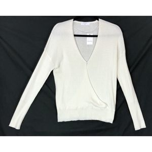 Elodie off white ribbed wrap sweater 9177